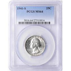 1941-S Washington Quarter Coin PCGS MS64