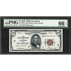 1929 $5 Federal Reserve Bank of Cleveland Currency Note Fr.1850-D PMG Gem Uncirc