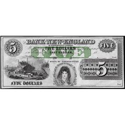1800's $5 Bank of New England Obsolete Note