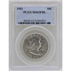 1951 Franklin Half Dollar Coin PCGS MS63FBL