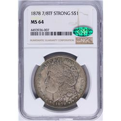 1878 7/8TF STRONG $1 Morgan Silver Dollar Coin NGC MS64 CAC