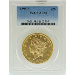 1895-S $20 Liberty Head Double Eagle Gold Coin PCGS AU58