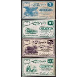 Lot of (4) 1862 Summit County Bank Fractional Obsolete Notes