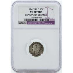 1942/41-D Mercury Silver Dime Coin NGC VG Details