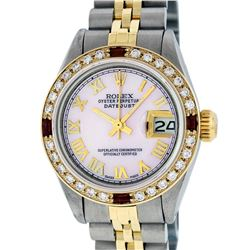 Rolex Ladies Two Tone 14K Pink MOP Diamond & Ruby Datejust Wristwatch