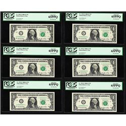 Lot of (6) 2006 $1 Federal Reserve Notes Fr.1933-F PCGS Gem New 65PPQ