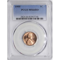 1955 Lincoln Wheat Cent Coin PCGS MS66RD