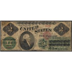 1862 $2 Legal Tender Note - Tape Repairs