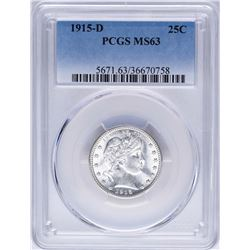 1915-D Barber Quarter Coin PCGS MS63