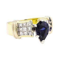 18KT Yellow Gold 2.20 ctw Sapphire and Diamond Ring