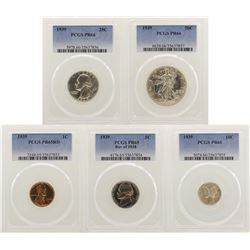 1939 (5) Coin Proof Set PCGS Graded PR65/PR66