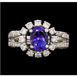 18KT White Gold 1.59 ctw Tanzanite and Diamond Ring