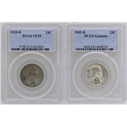 Lot of 1935-D Washington Quarter PCGS VF35 & 1942-D Quarter PCGS Genuine