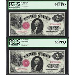 (2) Consecutive 1917 $1 Legal Tender Notes Fr.36 PCGS Gem New 66PPQ