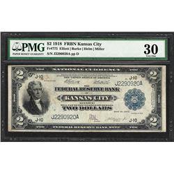 1918 $2 Battleship Federal Reserve Bank Note Kansas City Fr.775 PMG Very Fine 30