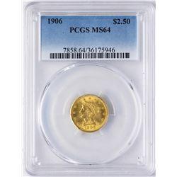1906 $2 1/2 Liberty Head Quarter Eagle Gold Coin PCGS MS64
