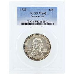 1925 Vancouver Commemorative Half Dollar Coin PCGS MS65