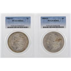 Lot of (2) 1884-O $1 Morgan Silver Dollar Coins PCGS MS64