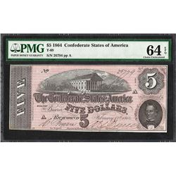 1864 $5 Confederate States of America Note T-69 PMG Choice Uncirculated 64EPQ