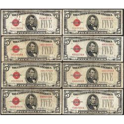 Lot of (8) 1928 $5 Legal Tender Notes
