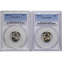 Lot of 1946-D & 1947-D Jefferson Nickel Coins PCGS MS66