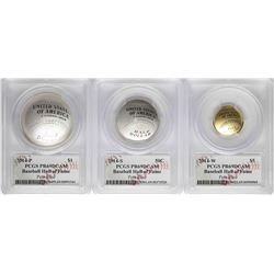 Set of 2014-W Baseball Hall of Fame Coins PCGS PR69DCAM Signed by Pete Rose