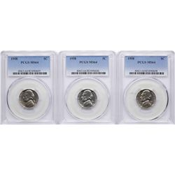 Lot of (3) 1958 Jefferson Nickel Coins PCGS MS64
