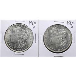 Lot of (2) 1921-D $1 Morgan Silver Dollar Coins