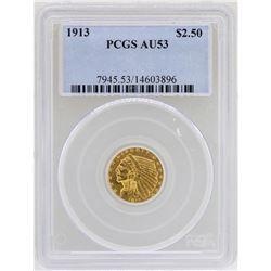 1913 $2 1/2 Indian Head Quarter Eagle Gold Coin PCGS AU53