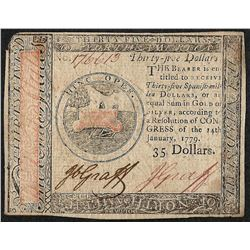 January 14, 1179 $35 Continental Currency Note