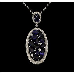 14KT White Gold 3.41 ctw Sapphire and Diamond Pendant with Chain