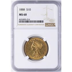 1888 $10 Liberty Head Eagle Gold Coin NGC MS60