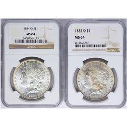 Lot of 1884-O & 1885-O $1 Morgan Silver Dollar Coins NGC MS64