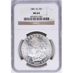 1881-CC $1 Morgan Silver Dollar Coin NGC MS64