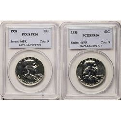 Lot of (2) 1958 Proof Franklin Half Dollar Coins PCGS PR66