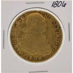 1806 Spanish 8 Escudos Carol III Gold Coin