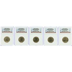 Lot of (5) 2007-P George Washington Presidential Dollar Coins NGC BU FDOI