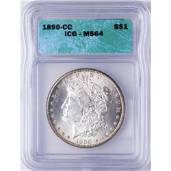 1890-CC $1 Morgan Silver Dollar Coin ICG MS64