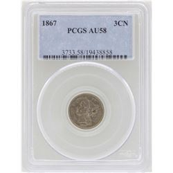 1867 3 Cent Nickel Coin PCGS AU58