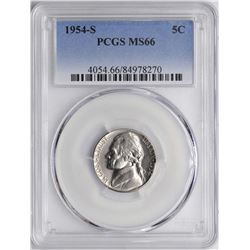 1954-S Jefferson Nickel Coin PCGS MS66