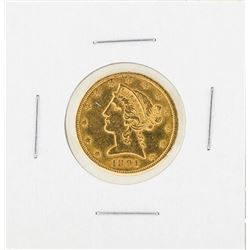 1891-CC $5 Liberty Head Half Eagle Gold Coin