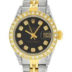 Rolex Ladies Two Tone 14K Black Diamond Lugs Datejust Watch