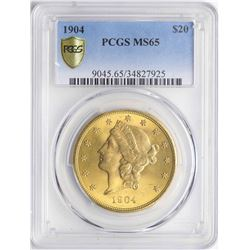 1904 $20 Liberty Head Double Eagle Gold Coin PCGS MS65