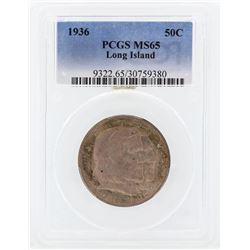 1936 Long Island Tercentenary Commemorative Half Dollar Coin PCGS MS65
