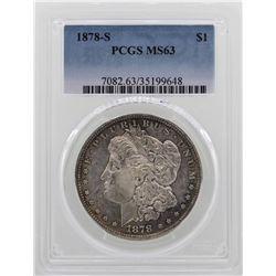 1878-S $1 Morgan Silver Dollar Coin PCGS MS63