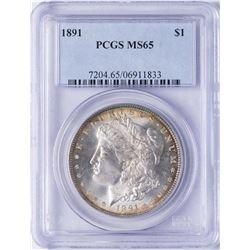 1891 $1 Morgan Silver Dollar Coin PCGS MS65