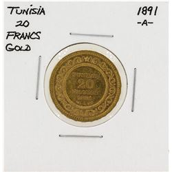1891-A Tunisia 20 Francs Gold Coin
