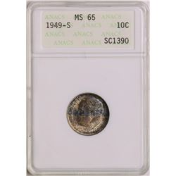 1949-S Roosevelt Dime Coin ANACS MS65