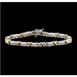 10KT Two Tone Gold 1.00 ctw Diamond Bracelet