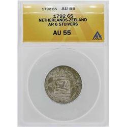 1792 Netherlands-Zeeland 6 Stuivers Coin ANACS AU55